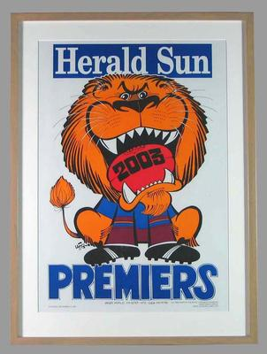 Poster -  Brisbane Lions Premiers 2003 Grand Final, cartoonist WEG
