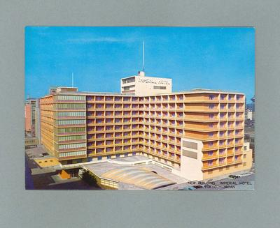 Postcard featuring image of Imperial Hotel, Tokyo c1964