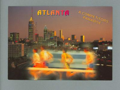 """Postcard with images of runners and Atlanta, """"A Competitors Paradise"""""""