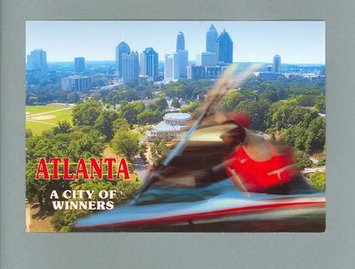 "Postcard with images of a kayaker and Atlanta, ""A City of Winners"""