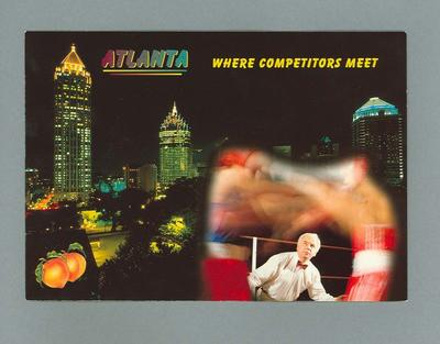 """Postcard with images of boxers and Atlanta, """"Where Competitors Meet"""""""