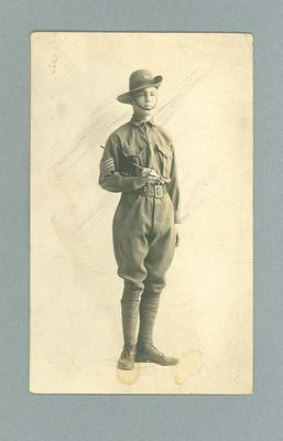 Postcard, features image of unknown Australian soldier in uniform
