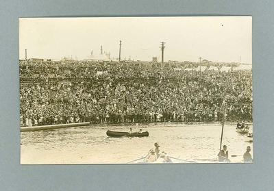 Postcard depicting Hobart Regatta crowd, 1 Feb 1927