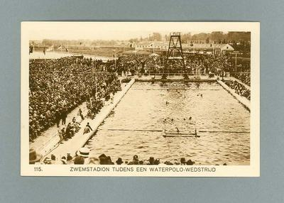 Postcard depicting water polo match in progress, 1928 Amsterdam Olympic Games