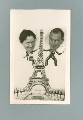 Postcard, image of Lola Scott & Harry Morris at the Eiffel Tower c1936