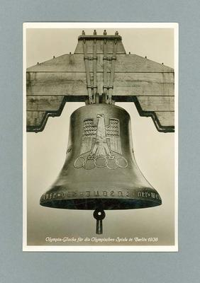 Postcard, depicts 1936 Olympic Games bell