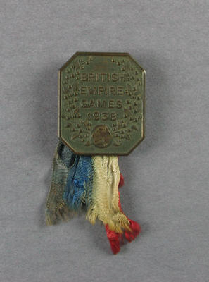 Bronze 1938 British Empire Games Australian Team badge, worn by swimmer Les Phillips