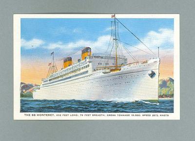 Postcard, depicts SS Monterey c1936