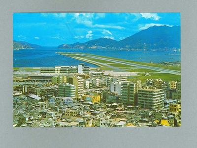 Postcard, depicts Kai Tak Airport c1964