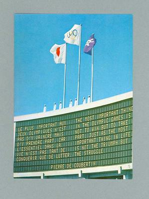 Postcard, depicts 1964 Olympic Games scoreboard with de Coubertin quote