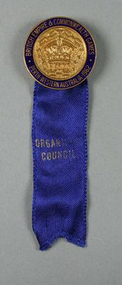 Organising Council badge, 1962 British Empire & Commonwealth Games