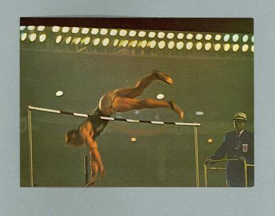 Postcard depicting American pole vaulter Fred Hansen, 1964 Olympic Games