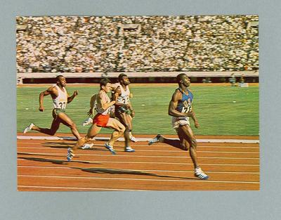 Postcard depicting men's 100m race, 1964 Olympic Games