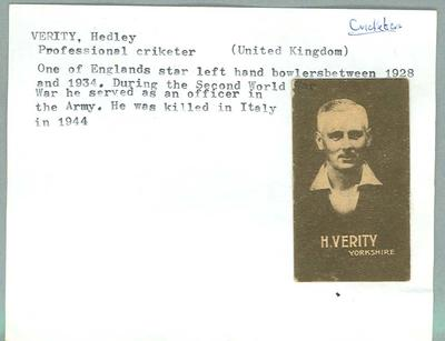 Trade card featuring Hedley Verity, Wills Cigarettes c1930s