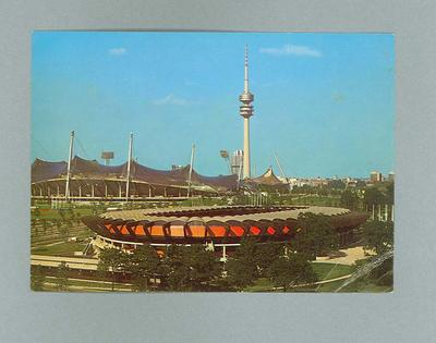 Postcard, depicts 1972 Munich Olympic Games cycling stadium