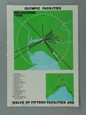 Poster, Melbourne 1996 Olympic Games facilities