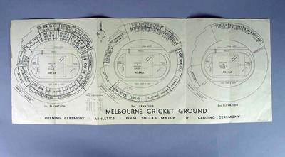 1956 Olympic Games Seating/Ticket Map of Main Stadium
