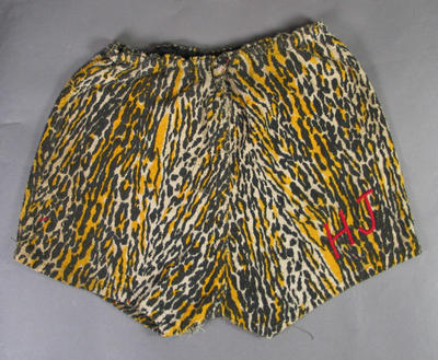 Leopard print boxing shorts worn by Australian  boxer Harry Johns