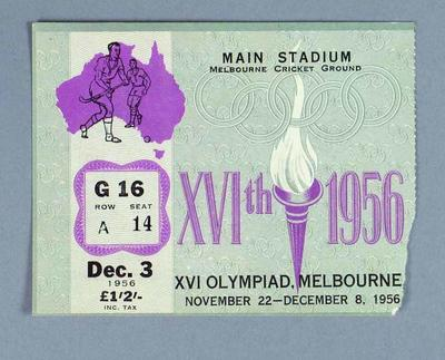 1956 Olympic Games Hockey Admission Ticket