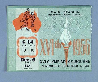 1956 Olympic Games Hockey Final Admission Ticket
