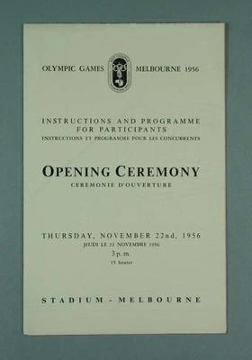 Instructions & programme for participants, 1956 Olympic Games Opening Ceremony