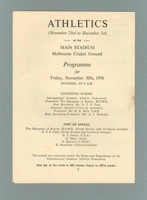 1956 Olympic Games athletics programme, 30 November 1956