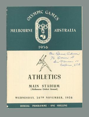 1956 Olympic Games athletics programme, 28 November 1956; Documents and books; 1986.1041.8