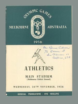 1956 Olympic Games athletics programme, 28 November 1956