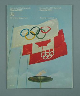 1976 Olympic Games Opening Ceremony programme; Documents and books; 1986.1131