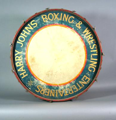 Harry Johns' boxing troupe bass drum, used circa, 1935-55; Musical instruments; 1989.2082.6.1