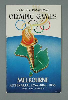 1956 Olympic Games Souvenir Programme, Melbourne, Australia; Documents and books; 1986.1240