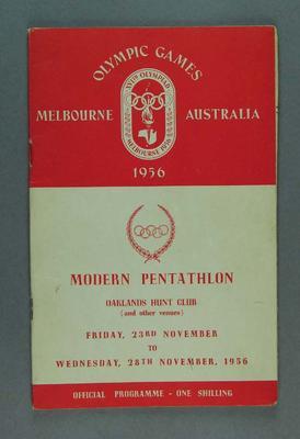 1956 Olympic Games - Official Pentathlon Programme, Oaklands Hunt Club - 23 November to 28 November