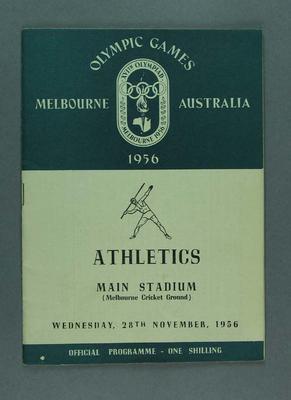 1956 Olympic Games Official  Programme, Athletics,  Main Stadium, MCC, Wednesday 28 November