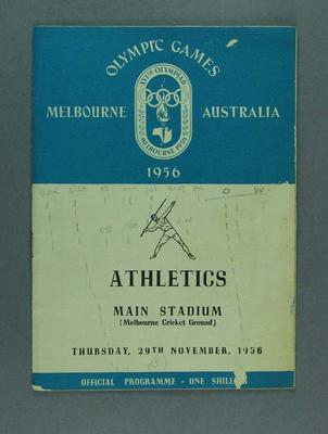 1956 Olympic Games Official  Programme, Athletics,  Main Stadium, MCC, Thursday 29 November