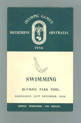 Official Programme, 1956 Olympic Games - Swimming, Olympic Park Pool - Wednesday 28 November