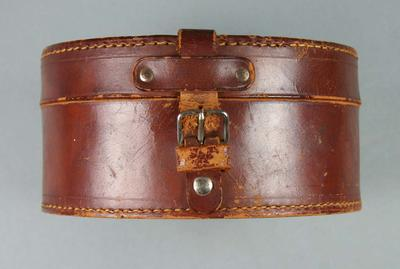 Leather suitcase, used by boxer Les Harley c1930s