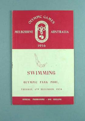 Official Programme, 1956 Olympic Games - Swimming, Olympic Park Pool - Tuesday 4th December