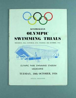Official Programme - Australian Olympic Swimming Trials - Olympic Park Swimming Stadium, Melbourne, Tuesday 30 October 1956