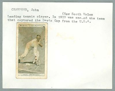 Trade card featuring John Crawford, BDV Cigarettes c1930s