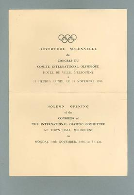 Programme for Opening of the Congress of the IOC, Melbourne 1956