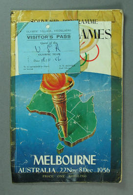 Souvenir programme of 1956 Olympic Games, and Olympic Village visitor's pass