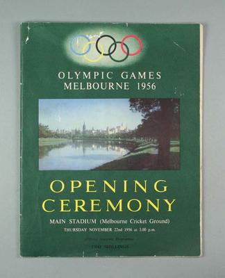 Programme - 1956 Olympic Games Opening Ceremony 22 November at the MCG
