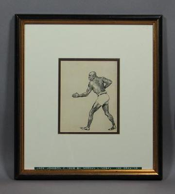 Drawing of boxer Jack Johnson, by Norman Lindsay 1908