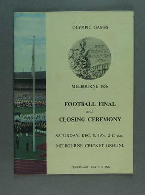 Programme, 1956 Olympic Games Football Final & Closing Ceremony; Documents and books; 1988.1901.5
