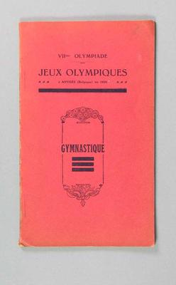 Programme, 1920 Olympic Games Gymnastics events