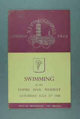 Programme for 1948 London Olympic Games swimming events, 31 July; Documents and books; 1988.2060.1