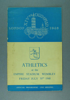 Programme for 1948 London Olympic Games athletics events, 30 July; Documents and books; 1988.2060.2