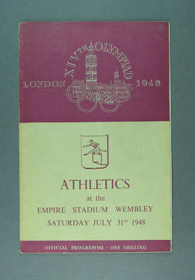 Programme for 1948 London Olympic Games athletics events, 31 July; Documents and books; 1988.2060.3