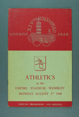 Programme for 1948 London Olympic Games athletics events, 2 August; Documents and books; 1988.2060.4
