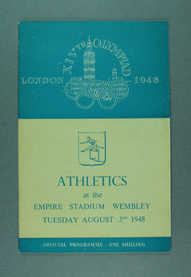 Programme for 1948 London Olympic Games athletics events, 3 August; Documents and books; 1988.2060.5